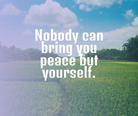 Nobody can bring you peace but yourself - Ralph Waldo Emerson
