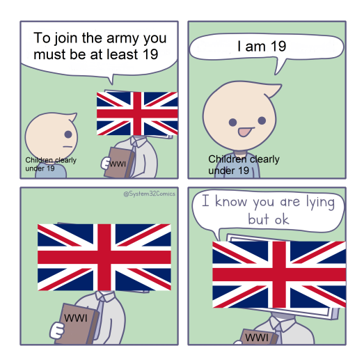 WWI memes, children join the army