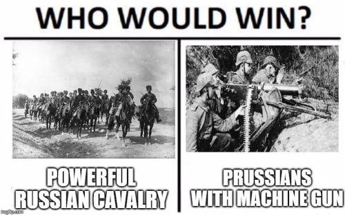 WWI memes, machine gun vs russians