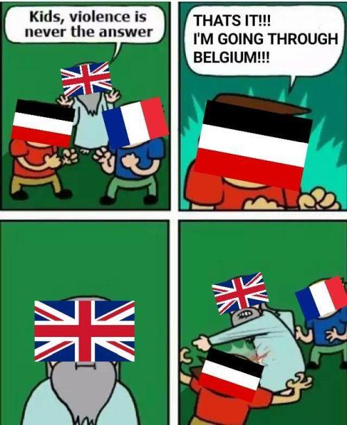 WWI memes Germany invades Belgium