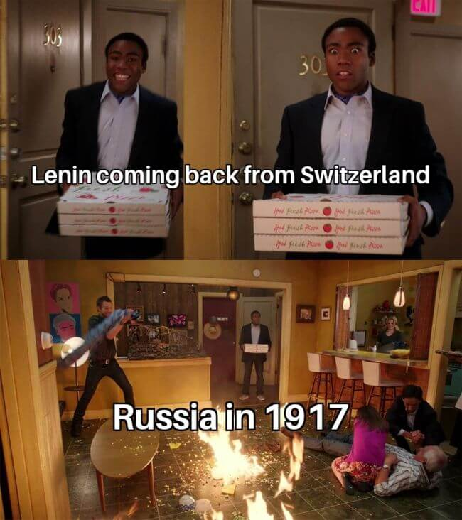 Lenin back to Russia be like