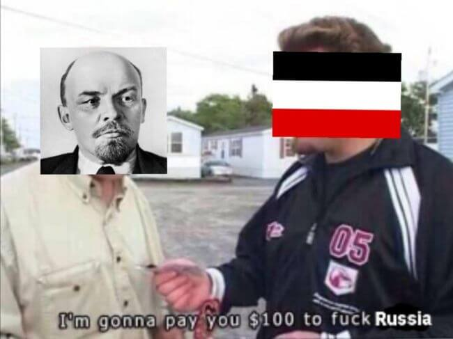 Lenin negotiating with the Germans