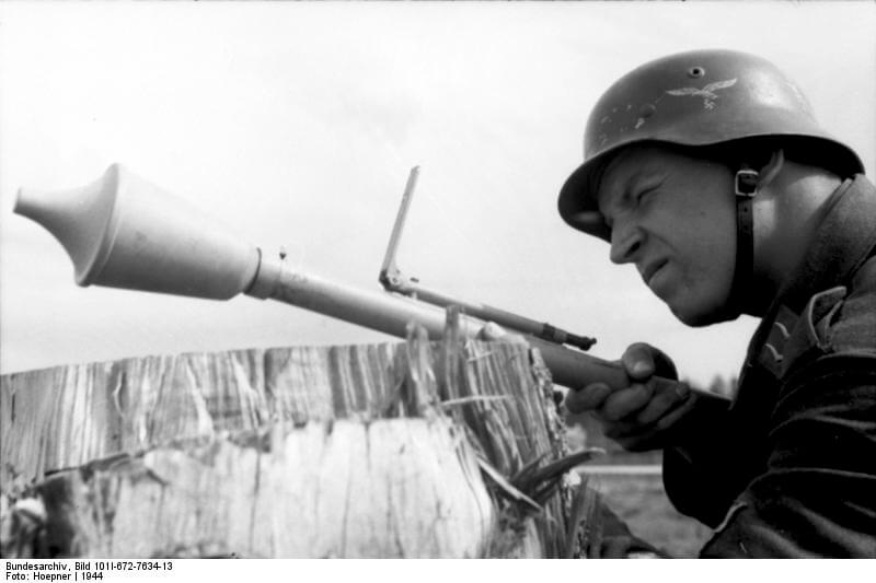 german soldier with panzerfaust 30