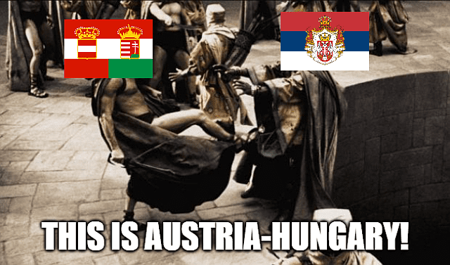 The moment Austria-Hungary declares war on Serbia