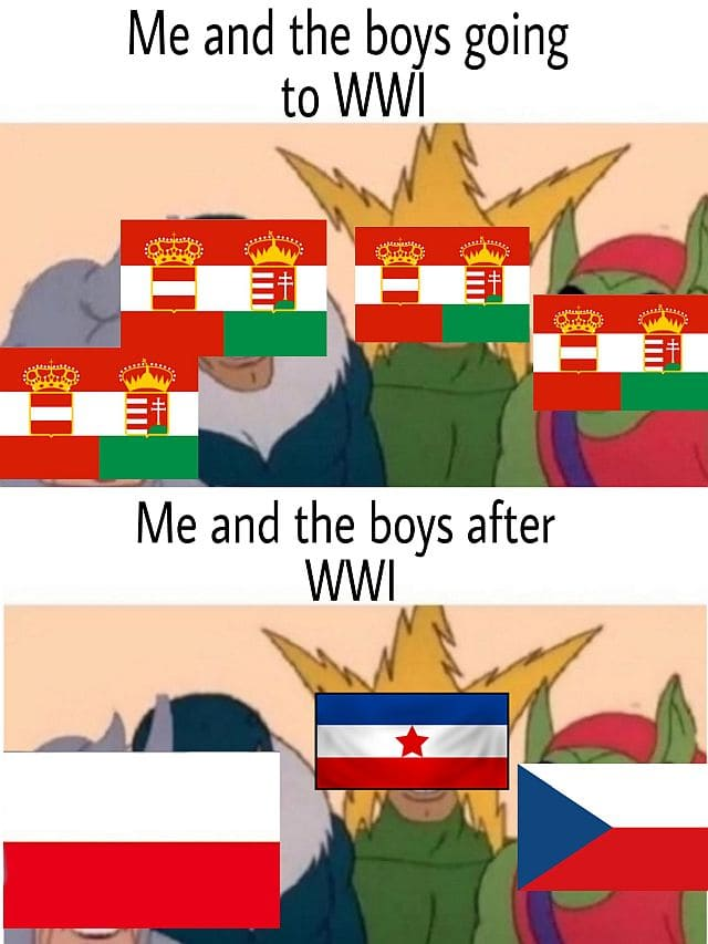 Austria-Hungary before and after WWI memes