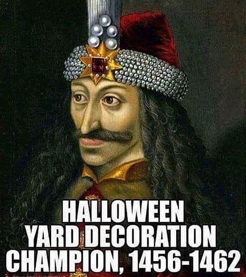 Winner of Halloween Yard Decoration, Vlad the Impaler.